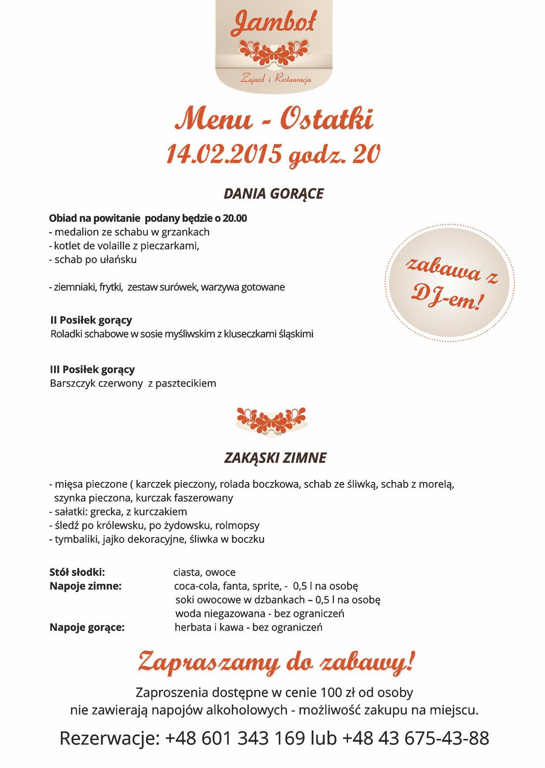 menu Jamboł ostatki 2015